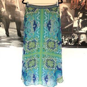 hale bob abstract boho floral skirt